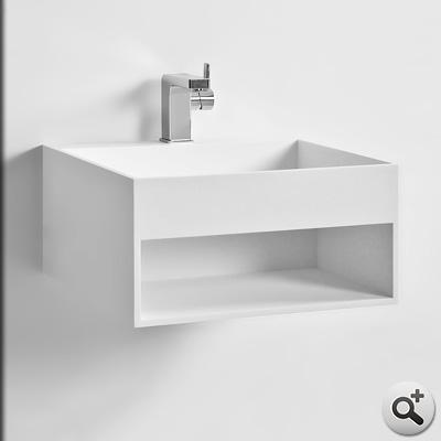 Vasque suspendue kube 5 thalassor lavabo mural en solid - Vasque suspendue salle de bain ...