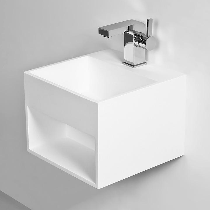 vasque suspendue kube 3 thalassor lavabo mural en solid surface. Black Bedroom Furniture Sets. Home Design Ideas
