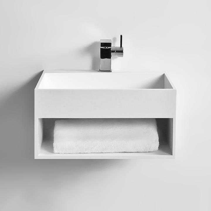 Vasque Suspendue KUBE Thalassor Lavabo Mural En Solid Surface - Vasque suspendue salle de bain